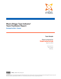 MBTI® Team Facilitator Report  (Form M)